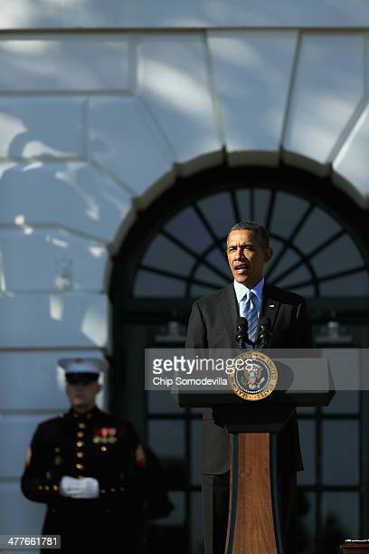S President Barack Obama delivers remarks while congratulating the 201213 NCAA Division I men's and women's champions on the South Lawn of the White...
