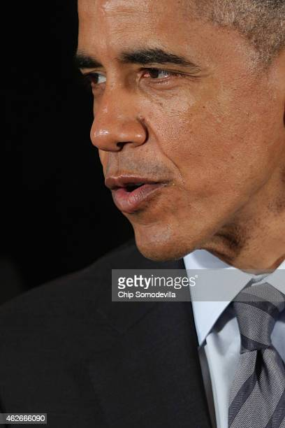 S President Barack Obama delivers remarks while hosting the National Hockey League champions Los Angeles Kings and the Major League Soccer champions...