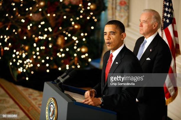 President Barack Obama delivers remarks with Vice President Joe Biden after the Senate passed their version of health care reform legislation in the...