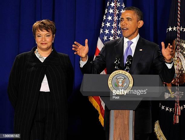 President Barack Obama delivers thank you remarks to Environmental Protection Agency employees as EPA Administrator Lisa Jackson lisensJanuary 10,...