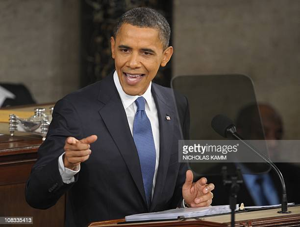 US President Barack Obama delivers the annual State of the Union address to a joint session of Congress at the Capitol in Washington on January 25...