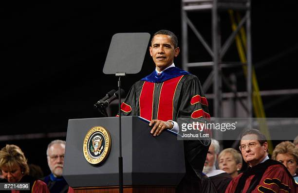 President Barack Obama delivers the commencement address during the Arizona State University graduation ceremony at Sun Devil Stadium May 13 2009 in...