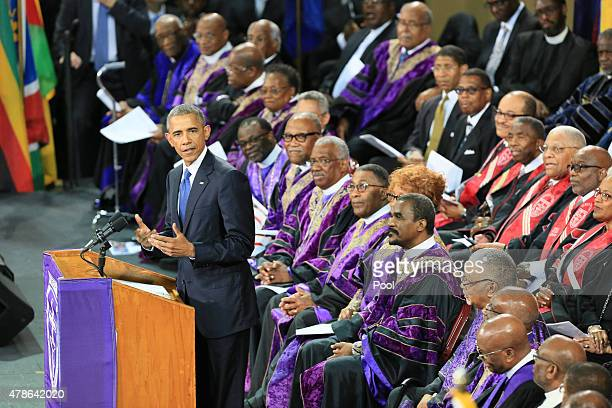 S President Barack Obama delivers the eulogy for Sen Clementa Pinckney who was killed during the mass shooting at the Emanuel African Methodist...