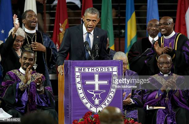 S President Barack Obama delivers the eulogy for South Carolina state senator and Rev Clementa Pinckney during Pinckney's funeral service June 26...