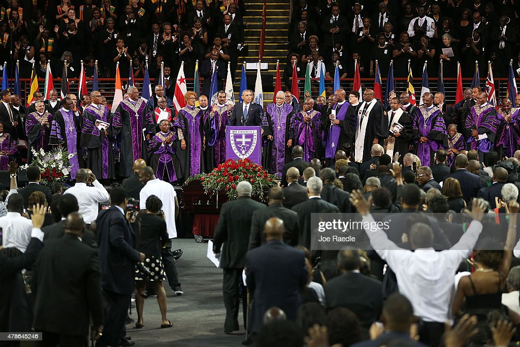 U.S. President Barack Obama delivers the eulogy for South Carolina state senator and Rev. Clementa Pinckney during Pinckney's funeral service June 26, 2015 in Charleston, South Carolina. Suspected shooter Dylann Roof, 21, is accused of killing nine people on June 17th during a prayer meeting in the church, which is one of the nation's oldest black churches in Charleston.