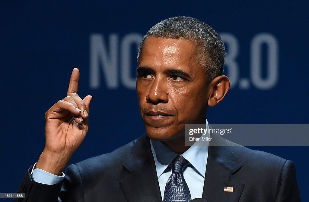 President Obama Speaks At Clean Energy Summit In Las Vegas : News Photo