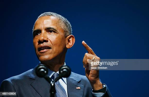 President Barack Obama delivers the keynote speech during the National Clean Energy Summit 8.0 at the Mandalay Bay Convention Center on August 24,...