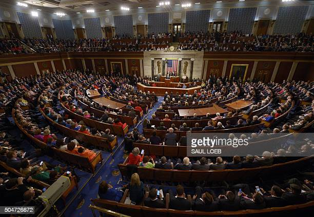 President Barack Obama delivers the State of the Union Address during a Joint Session of Congress at the US Capitol in Washington, DC, January 12,...