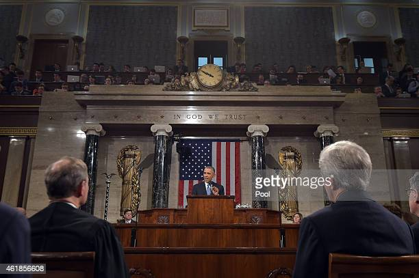 S President Barack Obama delivers the State of the Union address on January 20 2015 in the House Chamber of the US Capitol in Washington DC Obama was...