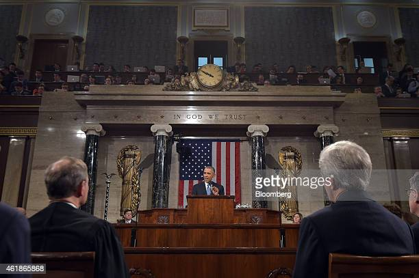 US President Barack Obama delivers the State of the Union address to a joint session of Congress at the Capitol in Washington DC US on Tuesday Jan 20...
