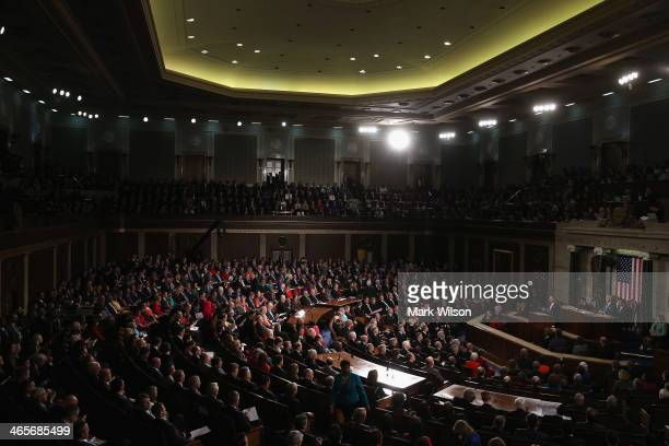 President Barack Obama delivers the State of the Union address to a joint session of Congress in the House Chamber at the U.S. Capitol on January 28,...