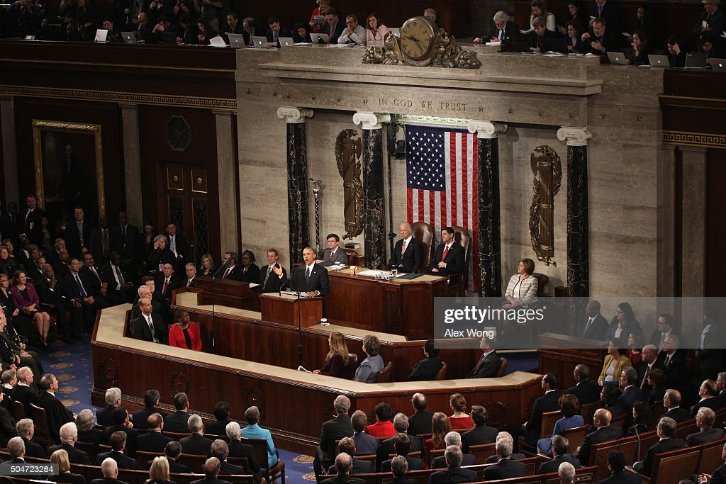 President Obama Delivers His Last State Of The Union Address To Joint Session Of Congress : News Photo