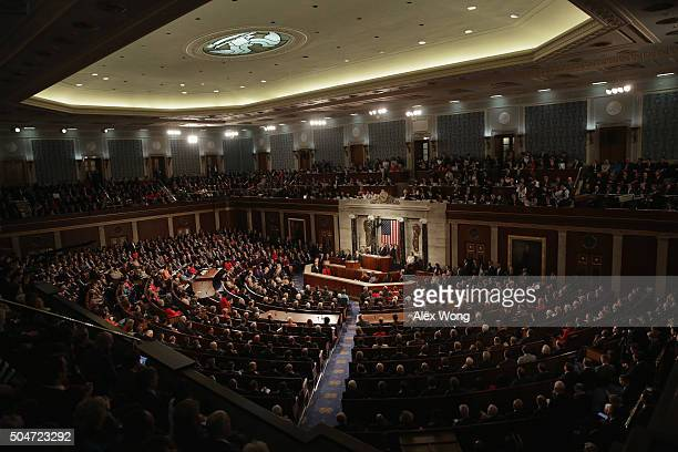 S President Barack Obama delivers the State of the Union speech before members of Congress in the House chamber of the US Capitol January 12 2016 in...