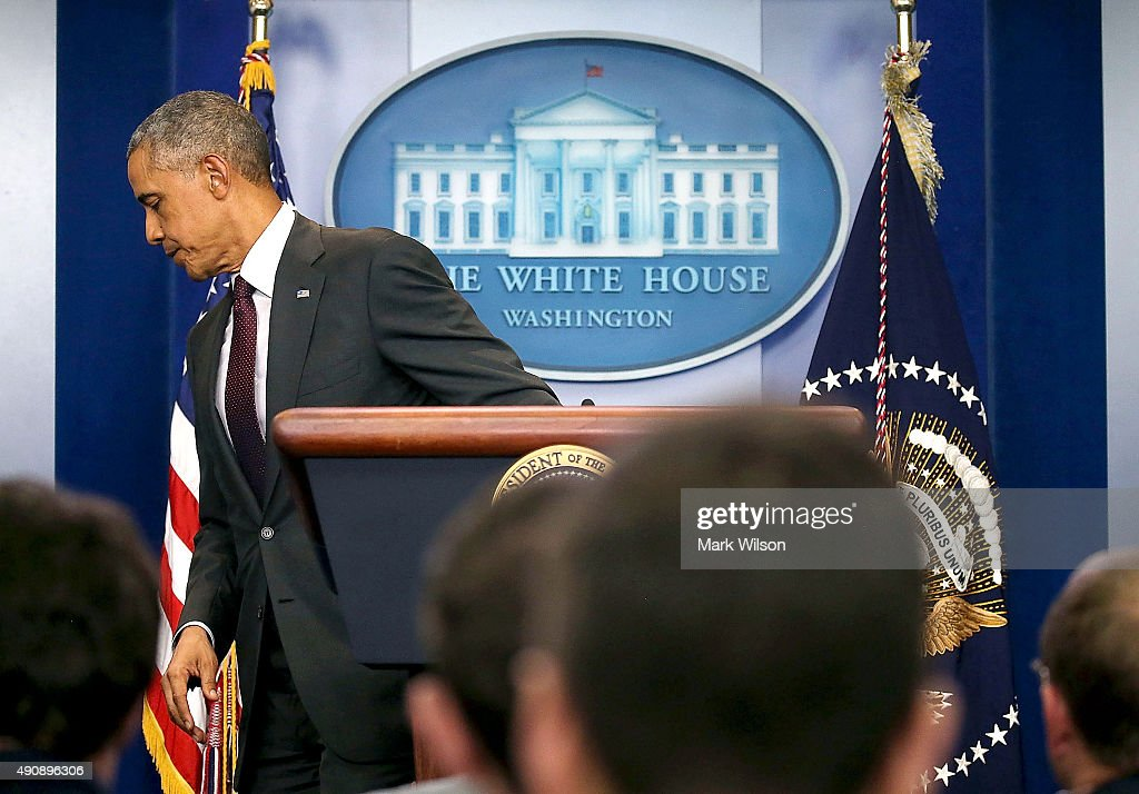 President Barack Obama departs after speaking at a press conference on October 1, 2015 in Washington, DC. According to reports, 10 were killed and 20 injured when a gunman opened fire at Umpqua Community College in Roseburg, Oregon.