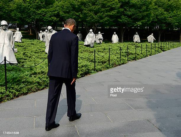 President Barack Obama departs after speaking at the 60th Anniversary of the Korean War Armistice at the Korean War Veterans Memorial on July 27 2013...