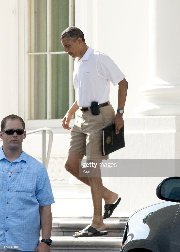 US President Barack Obama departs the North Portico of the White House for a round of golf July 5, 2013 in Washington, DC.