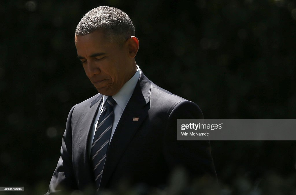 U.S. President Barack Obama departs the White House July 14, 2015 in Washington, DC. Obama was scheduled to travel to Philadelphia after announcing a deal limiting the nuclear ambitions of Iran earlier in the day.