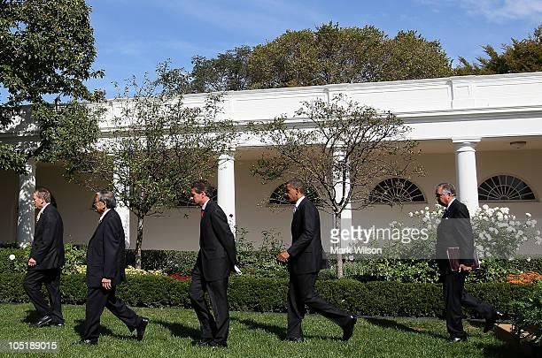 S President Barack Obama departs with former Transportation Secretary Samuel Skinner former Transportation Secretary Norman Mineta Treasury Secretary...