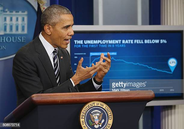 President Barack Obama discusses the latest unemployment rate within the US economy in the Brady Press Briefing Room at the White House February 5...