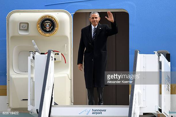 S President Barack Obama disembarks the Air Force One at Hanover Airport prior the opening evening of the Hannover Messe trade fair on April 24 2016...