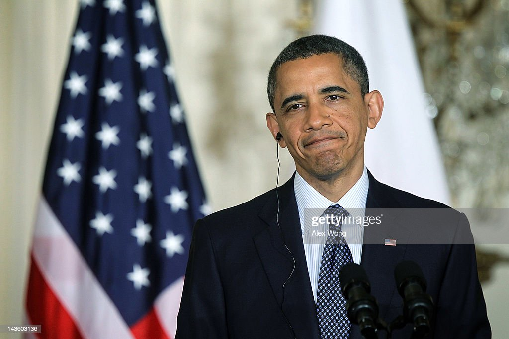 U.S. President Barack Obama during a news conference with Japanese Prime Minister Yoshihiko Noda at the East Room of the White House April 30, 2012 in Washington, DC. Obama met with Noda to discuss a wide range of bilateral, regional and global issues, according to a White House news release.
