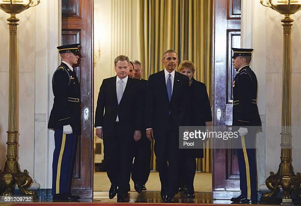 US President Barack Obama escorts Finland President Sauli Niinisto and other Nortic leaders Iceland Prime Minister Sigurdur Ingi Johannsson Denmark...