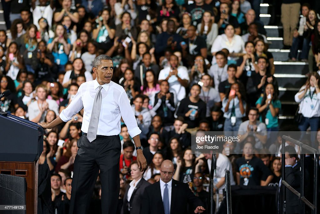 U.S. President Barack Obama finishes his speech during an event at Coral Reef Senior High on March 7, 2014 in Miami, Florida. Obama announced a program that will allow students an easier way to complete the Free Application for Federal Student Aid.