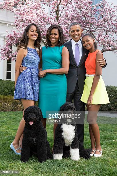 S President Barack Obama First Lady Michelle Obama and daughters Malia and Sasha pose for a family portrait with their pets Bo and Sunny in the Rose...