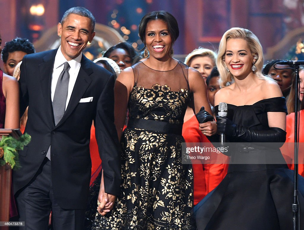 U.S. President Barack Obama, First Lady Michelle Obama, and Rita Ora speak onstage at TNT Christmas in Washington 2014 at the National Building Museum on December 14, 2014 in Washington, DC. 25248_001_0620.JPG