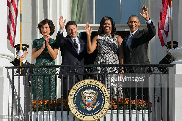 President Barack Obama First Lady Michelle Obama Italian Prime Minister Matteo Renzi and Italian First Lady Agnese Landini wave from the Truman...