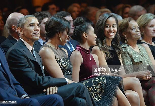 President Barack Obama, First Lady Michelle Obama, Sasha Obama, Malia Obama, and Marian Shields Robinson attend TNT Christmas in Washington 2014 at...