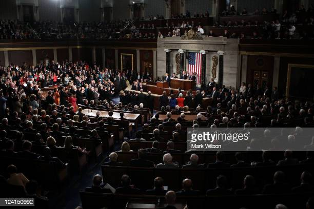 President Barack Obama, flanked by Vice President Joe Biden and Speaker of the House John Boehner addresses a Joint Session of Congress at the U.S....