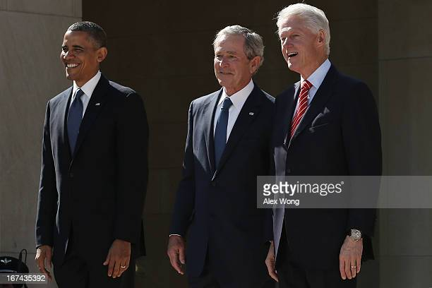 President Barack Obama, former President George W. Bush and former President Bill Clinton attend the opening ceremony of the George W. Bush...