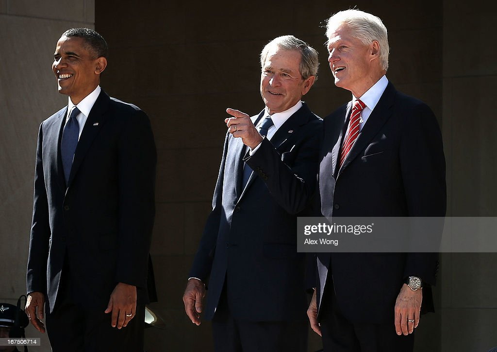 U.S. President Barack Obama, former President George W. Bush, and former President Bill Clinton attend the opening ceremony of the George W. Bush Presidential Center April 25, 2013 in Dallas, Texas. The Bush library, which is located on the campus of Southern Methodist University, with more than 70 million pages of paper records, 43,000 artifacts, 200 million emails and four million digital photographs, will be opened to the public on May 1, 2013. The library is the 13th presidential library in the National Archives and Records Administration system.