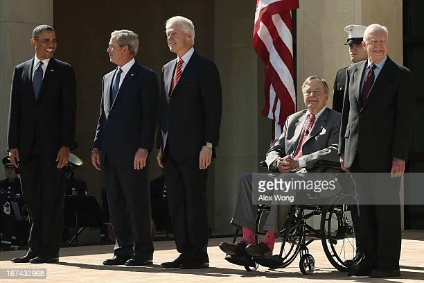 President Barack Obama, former President George W. Bush, former President Bill Clinton, former President George H.W. Bush and former President Jimmy...