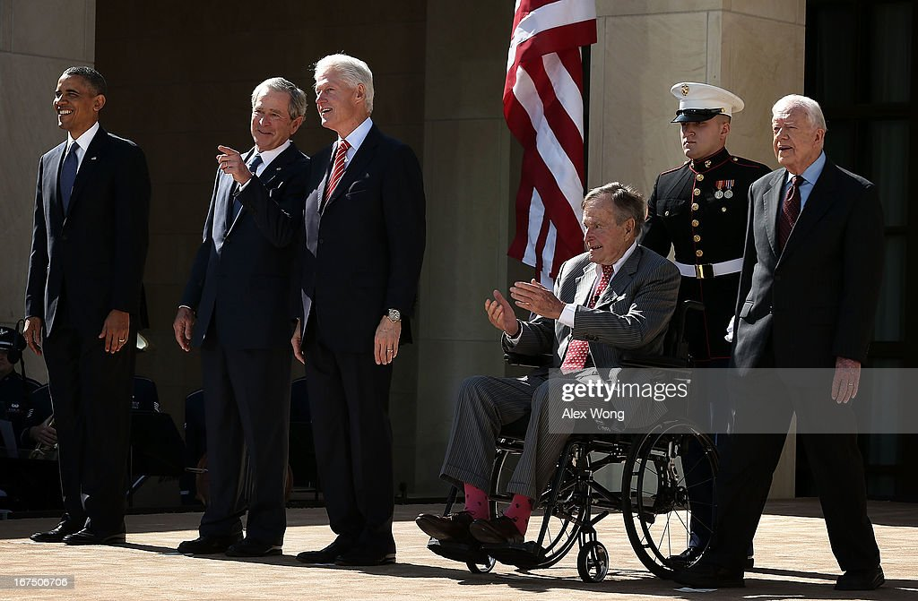 U.S. President Barack Obama, former President George W. Bush, former President Bill Clinton, former President George H.W. Bush and former President Jimmy Carter attend the opening ceremony of the George W. Bush Presidential Center April 25, 2013 in Dallas, Texas. The Bush library, which is located on the campus of Southern Methodist University, with more than 70 million pages of paper records, 43,000 artifacts, 200 million emails and four million digital photographs, will be opened to the public on May 1, 2013. The library is the 13th presidential library in the National Archives and Records Administration system.