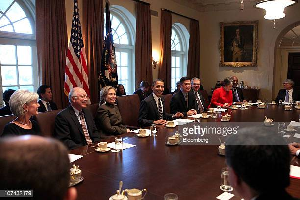 US President Barack Obama fourth left holds a cabinet meeting with Kathleen Sebelius US secretary of the Department of Health and Human Services from...