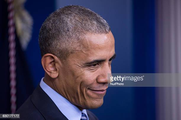 US President Barack Obama gave his last press briefing and answered questions from reporters in the Brady Press Briefing Room of the White House in...