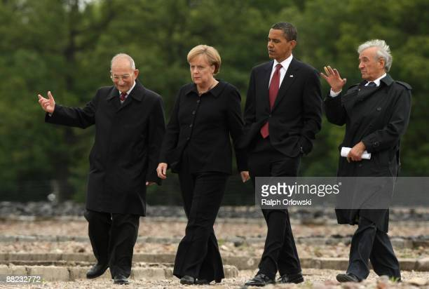 S President Barack Obama German Chancellor Angela Merkel Buchenwald concentration camp survivor Elie Wiesel and International Buchenwald Committee...