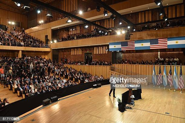 """President Barack Obama gestures as he speaks at the """"Usina del Arte"""" cultural centre in Buenos Aires on March 23, 2016. The United States and..."""