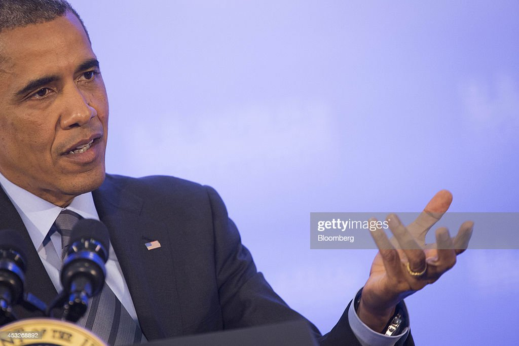 U.S. President Barack Obama gestures as he speaks during a news conference at the U.S.-Africa Leaders Summit at the State Department in Washington, D.C., U.S., on Wednesday, Aug. 6, 2014. President Barack Obama said Africa represents a great opportunity for American companies to expand their investments, as the U.S. competes with China to tap some of the worlds fastest growing economies. Photographer: Drew Angerer/Bloomberg via Getty Images