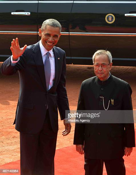President Barack Obama gestures during the official welcoming ceremony at Rashtrapati Bhavan, the Presidential Palace, in New Delhi on January 25,...