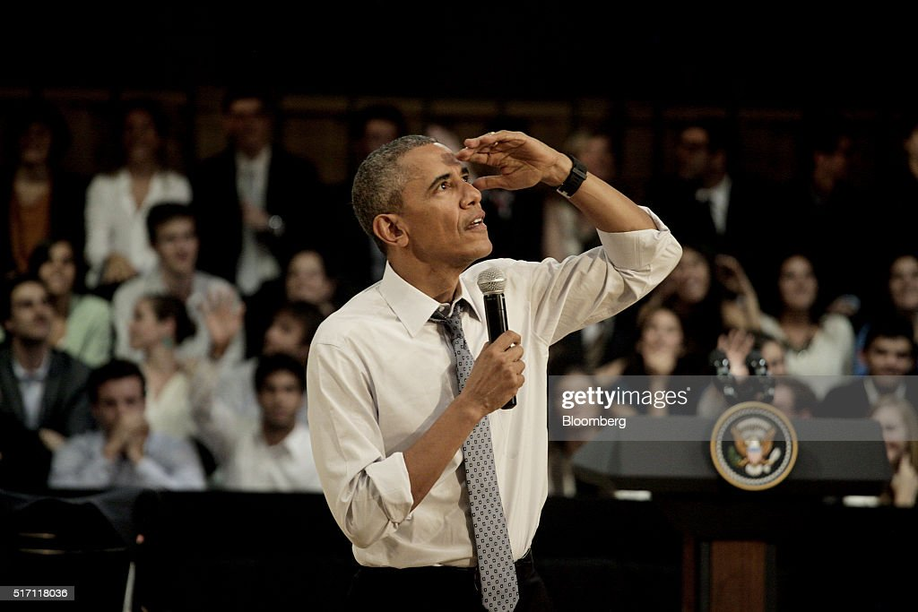 U.S. President Barack Obama gestures while speaking during a town hall event at Usina de las Artes in Buenos Aires, Argentina, on Wednesday, March 23, 2016. Obama became the first U.S. president to visit Argentina in more than a decade as his counterpart, Mauricio Macri, seeks a rapprochement with the international community following a decade of financial and diplomatic isolation. Photographer: Diego Levy/Bloomberg via Getty Images