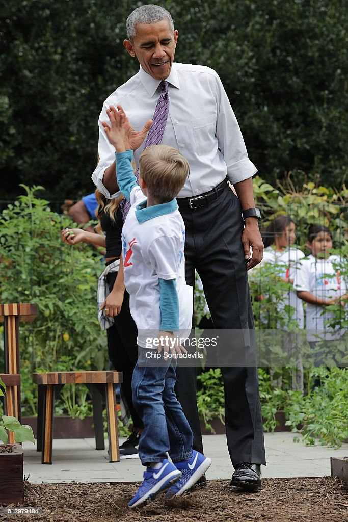 U.S. President Barack Obama gives a high-five to a student during an event to harvest the White House Kitchen Garden on the South Lawn of the White House October 6, 2016 in Washington, DC. Students from across the country were invited to help pull vegetables and greens from the garden which was established by first lady Michelle Obama in the spring of 2009. The garden is now a permanent feature on the White House grounds.