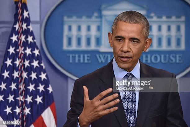 President Barack Obama gives his final presidential press conference on January 18 at the White House in Washington,DC. President Barack Obama...