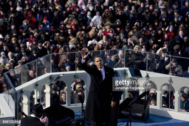 S President Barack Obama gives his inaugural address during his inauguration as the 44th President of the United States of America on the West Front...
