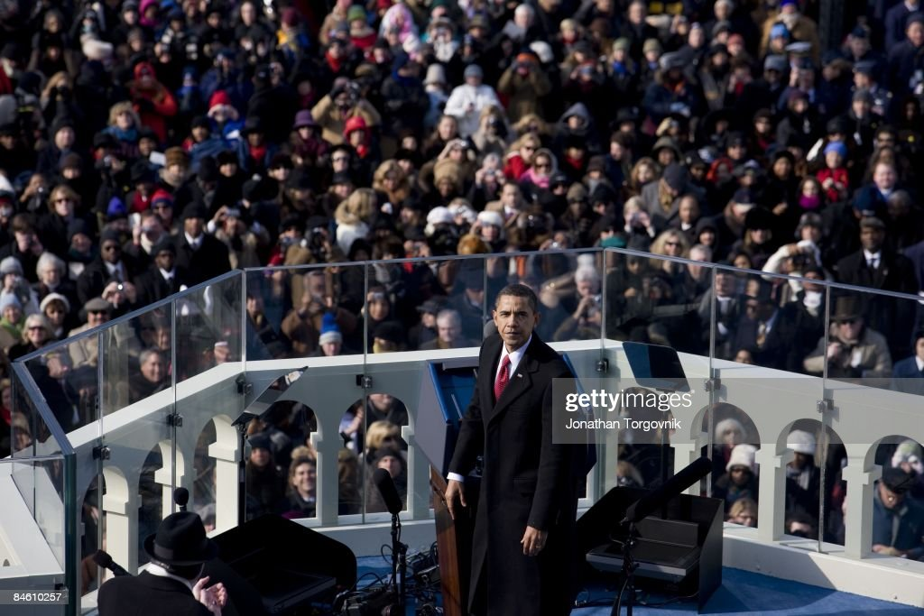U.S. President Barack Obama gives his inaugural address during his inauguration as the 44th President of the United States of America on the West Front of the Capitol January 20, 2009 in Washington, DC. Obama becomes the first African-American to be elected to the office of President in the history of the United States.