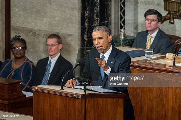US President Barack Obama gives his State of the Union address to a joint session of Congress on Capitol Hill in Washington Tuesday Jan 20 2015 This...