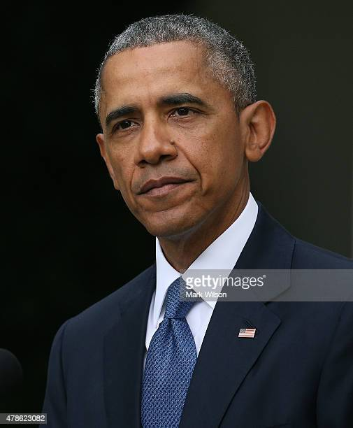 S President Barack Obama gives remarks on the Supreme Court ruling on gay marriage in the Rose Garden at the White House June 26 2015 in Washington...