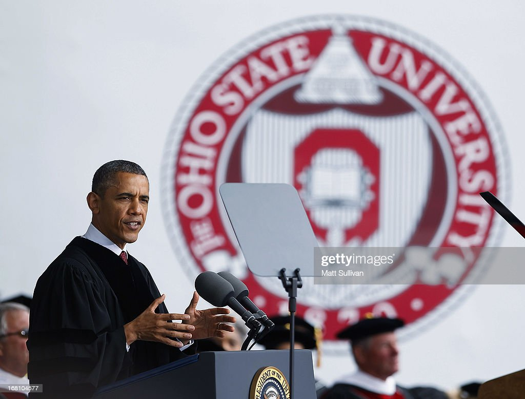 U.S. President Barack Obama gives the commencement address to the graduating class of The Ohio State University at Ohio Stadium on May 5, 2013 in Columbus, Ohio. Obama addressed the graduates a year from the day he kicked off his re-election campaign at the campus.The president was also given an honorary degree Doctor of Laws.